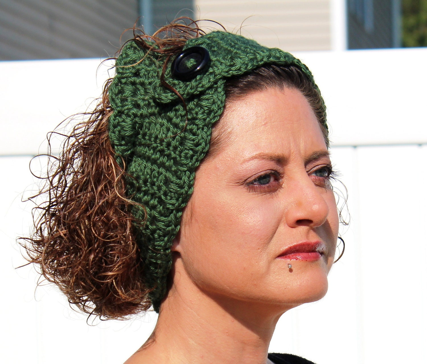 Dark Green Ear Warmer Headband Crochet - GuRuOriginals