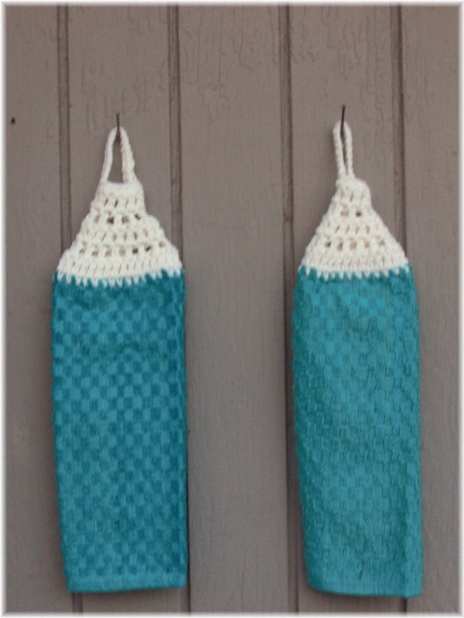 Looped Hanging Kitchen Towels Aqua Blue and by DebbieCrochets