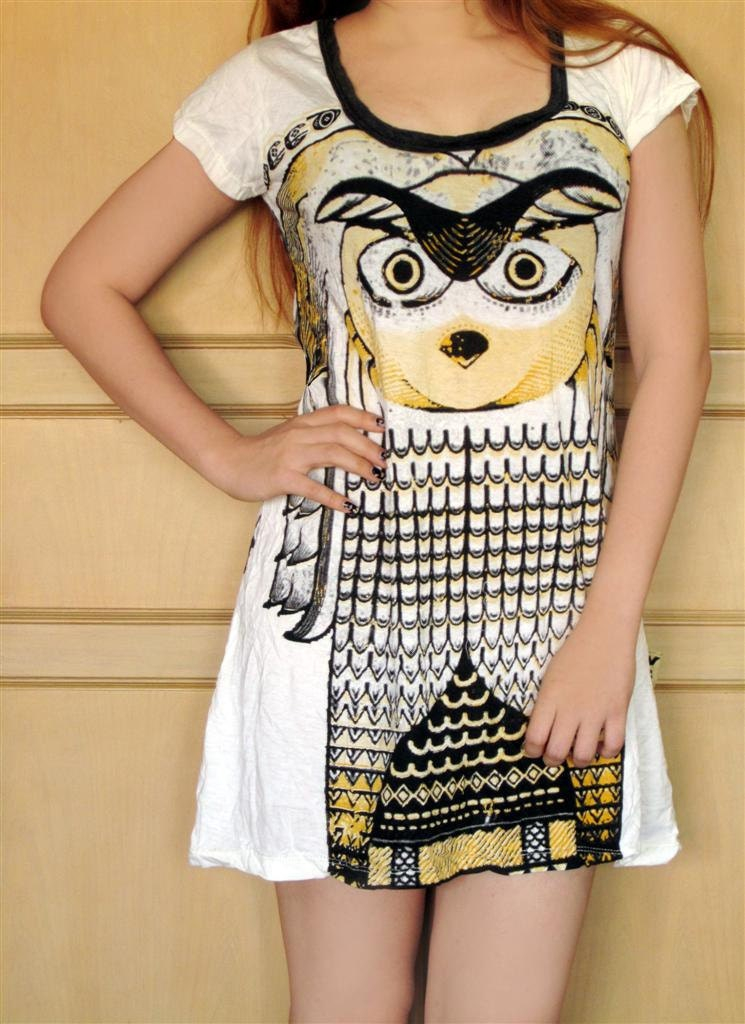 Owl Dress - white women indy art - boho hippie natural crinkly  - 100% soft cotton