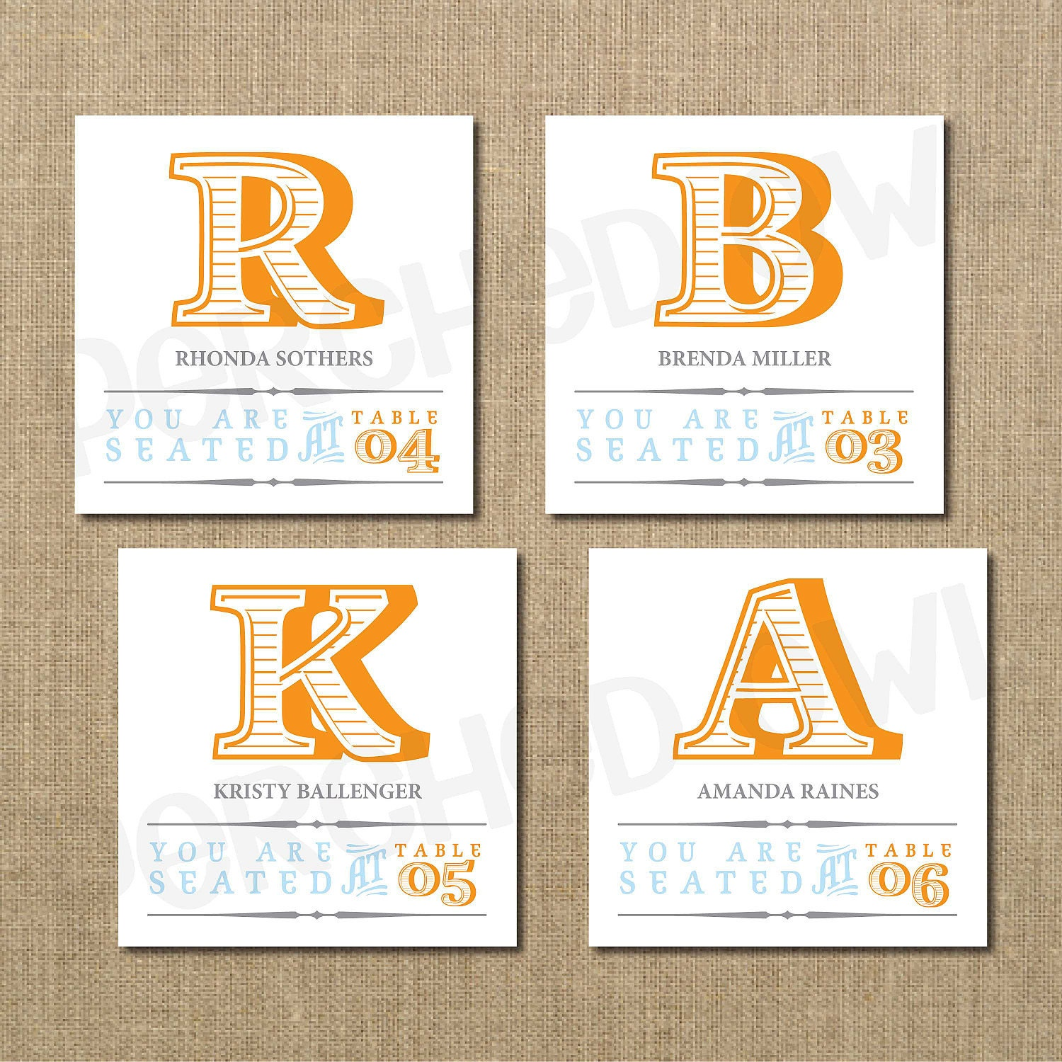 Striped Wedding Reception Cards Escort Cards Place By PerchedOwl