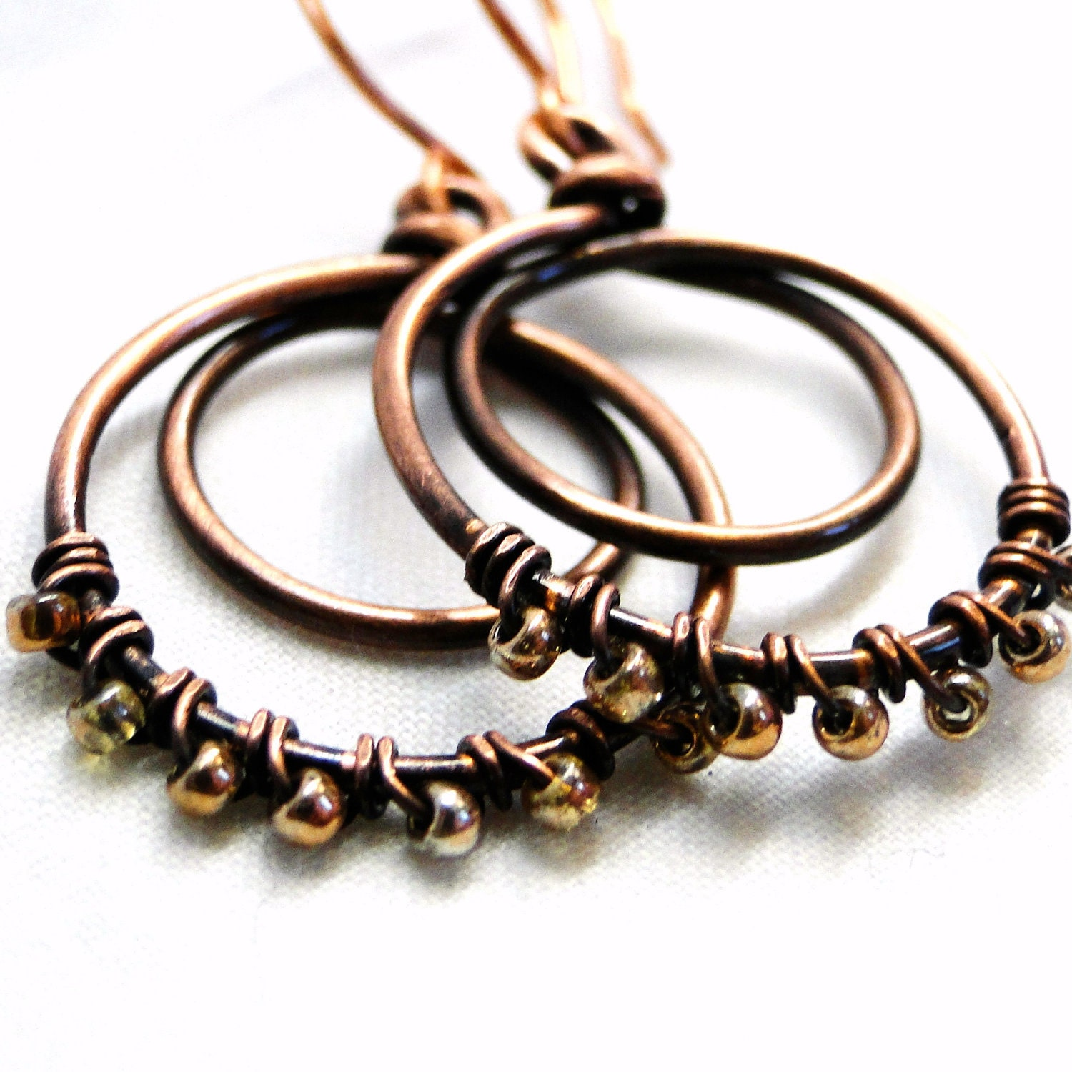 beaded earrings wire wrapped copper handcrafted by