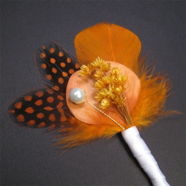 Boutonnieres orange boutonniere pin grooms boutonniere groomsmen