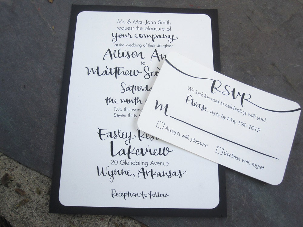 Digital Calligraphy Invitations For Printing By Featherletter