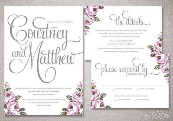 Vintage Calligraphy Courtney Wedding Invitations By