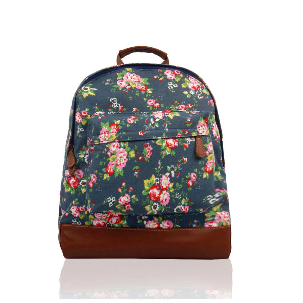 Personalised floral backpack  rucksack vintage shabby chic toddler preschool ditsy personalized bag embroidered