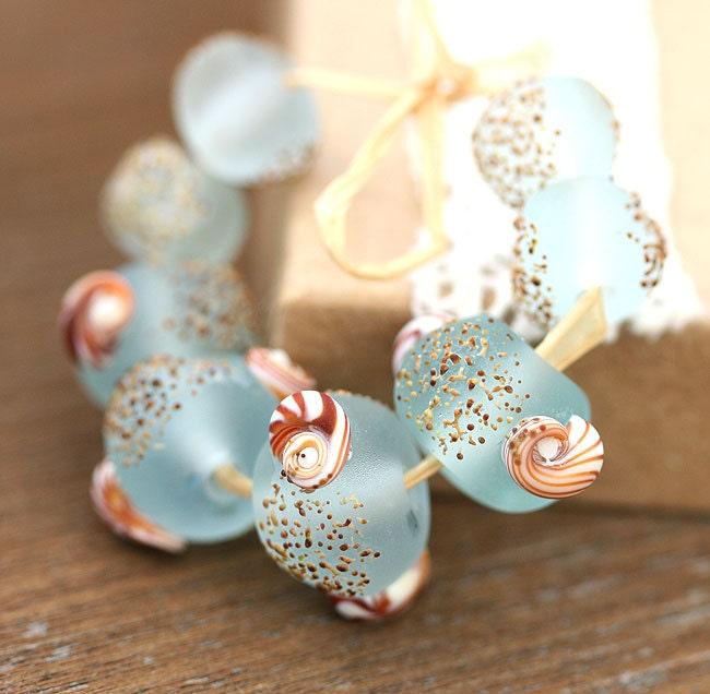 Etched lampwork beads set Seaglass look aqua blue organics - sra - beach, shells, nautical - MayaHoney