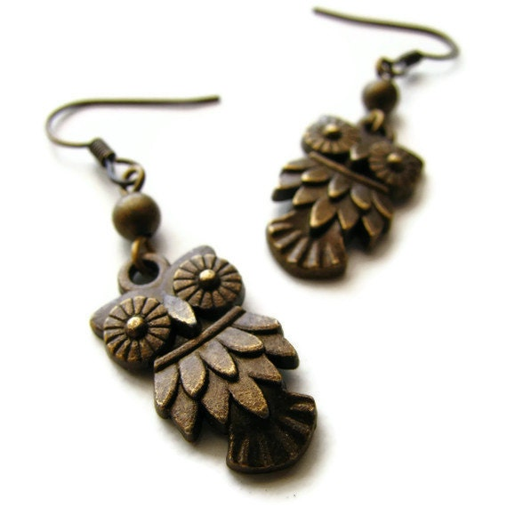 Antique Brass Owl Earrings -Hoot Hoot Owl - heversonart