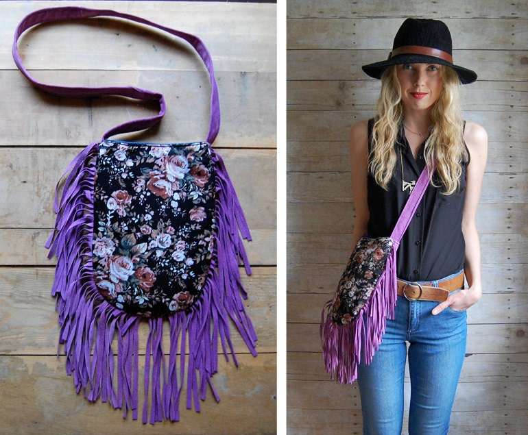 SALE /// double-sided fringe bag. Navajo and purple suede