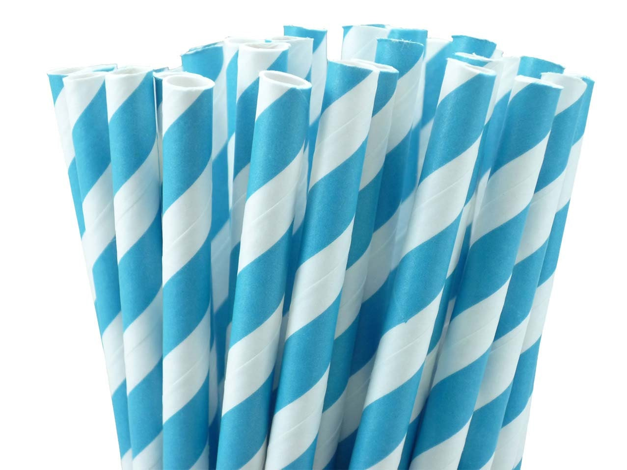 Turquoise Teal Blue Stripe Straws w/DIY Confetti Party Flags - BonFortune