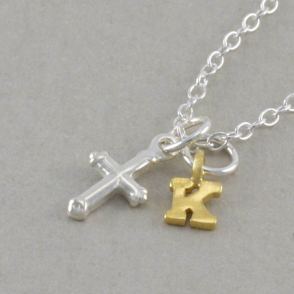 tiny cross necklace sterling silver baptism by