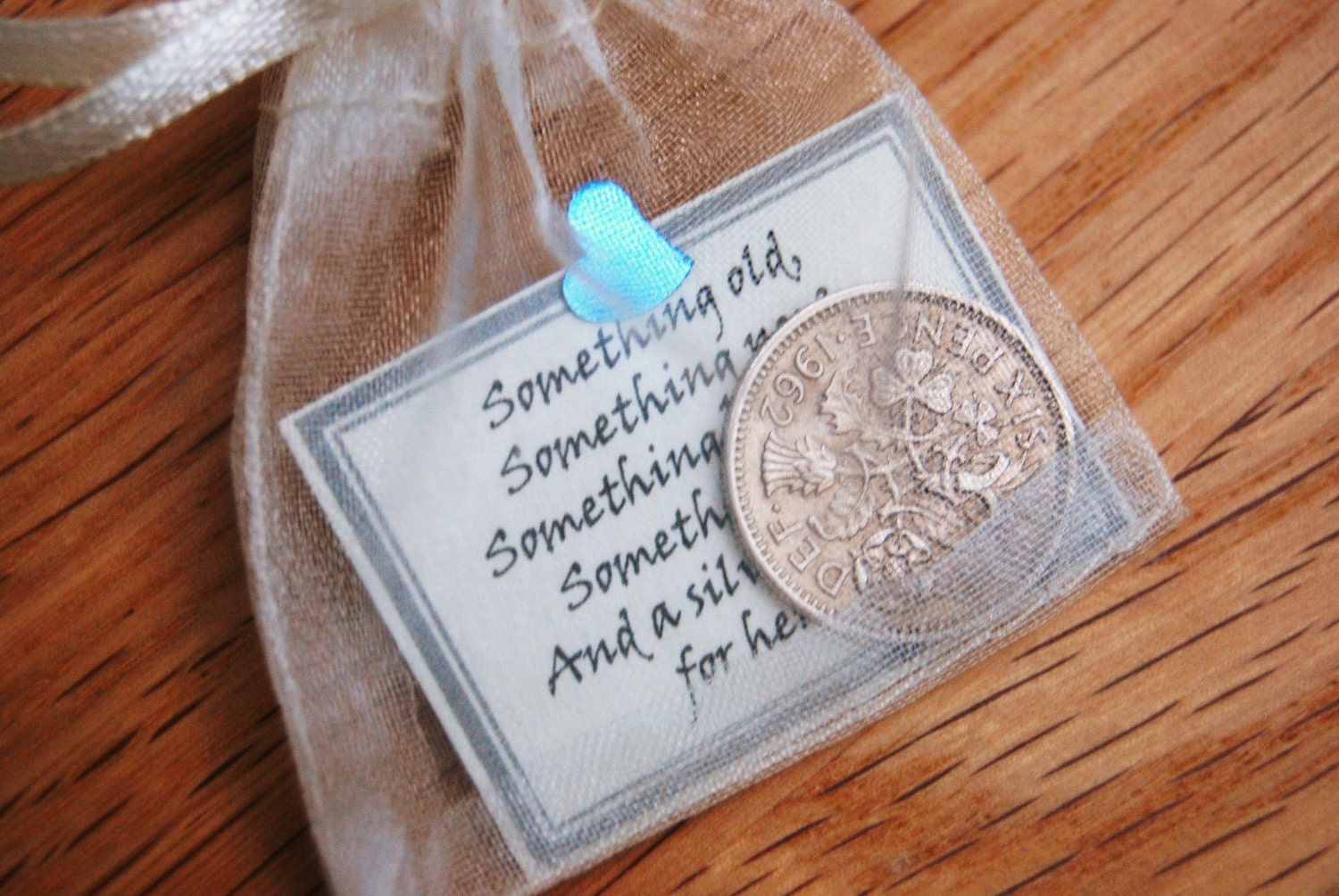 Goodluck Daughter Wedding Gift : Lucky sixpence bridal gift something blue traditional good luck charm