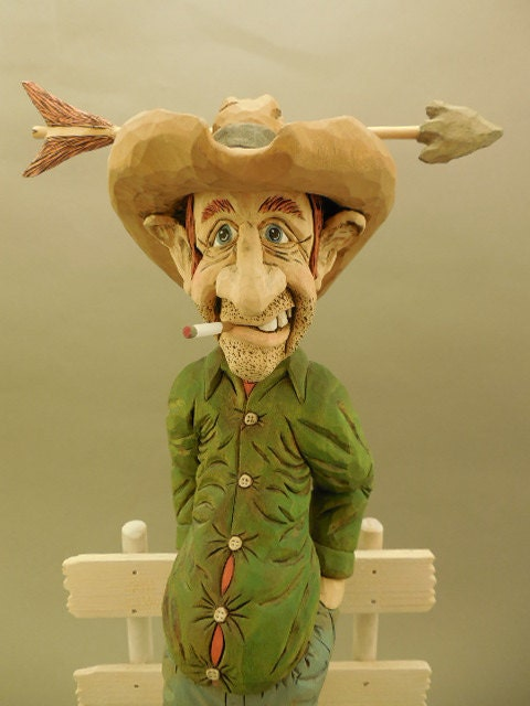 hand carved wood cowboy caricature time for a by