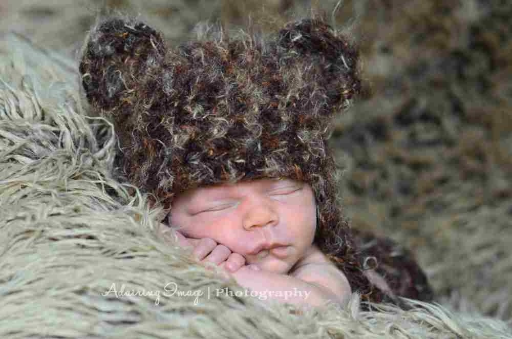 Brown Fuzzy Bear Hat Newborn 3m 6m Baby Boy Girl Photo Prop Animal Custom Made Gender Neutral Halloween CHRISTMAS SUPER SOFT - NitaMaesGarden