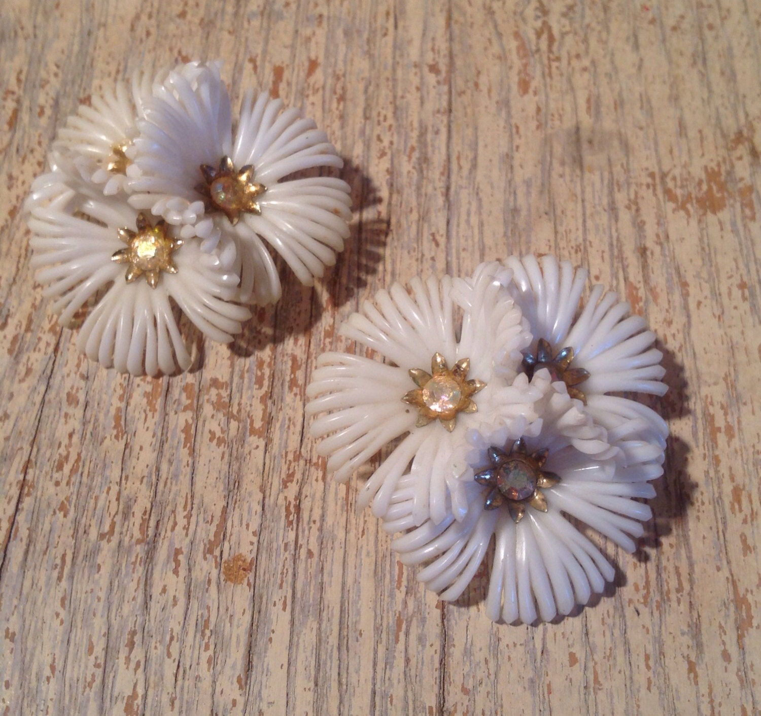 Vintage Coro Rhinestone White Flower Clip Earrings - Vintage Bridal - Mid Century Fashion - PackandAlleys