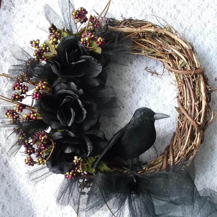 Black Flower And Crow Halloween Wreath