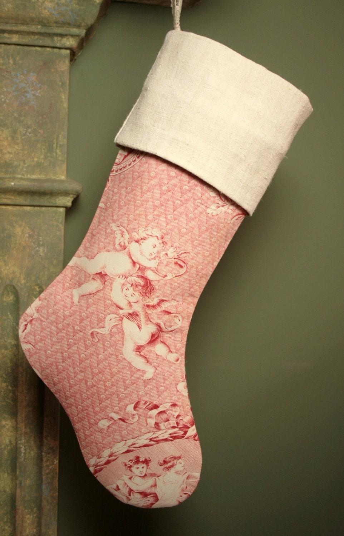 Удивительные 18 веке античный французский Toile Жуи чулок с Херувимы - античный французский манжеты белье