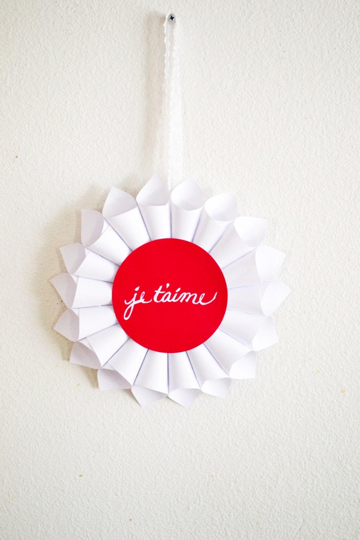 Je'taime papier Couronne de cône - porte décor-Saint Valentin cadeau rose blanc français je t'aime