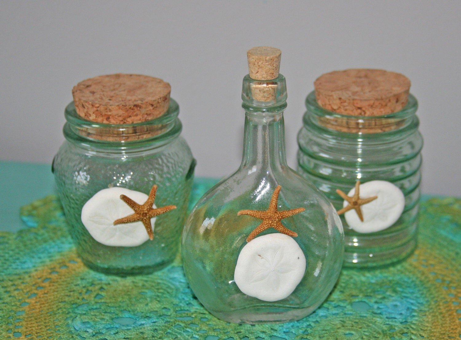 Darling Beach Glass Bottles With Sea Shell Accents