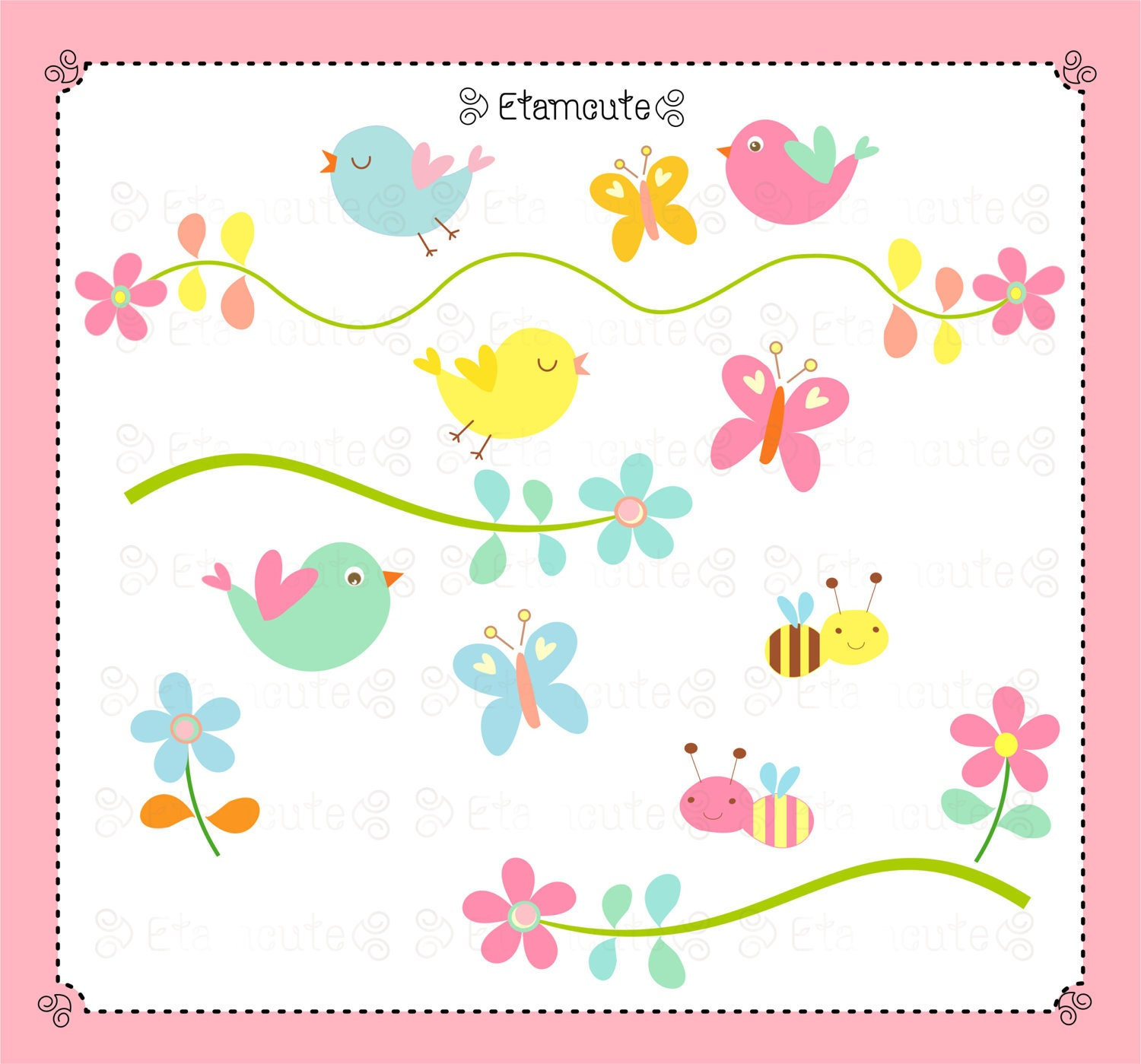 Bird clip art butterfly flower bee instant download by for Art sites like etsy