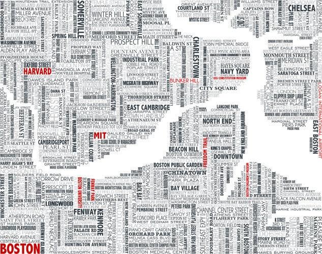 Boston typographic map by UrbanFootPrintDesign