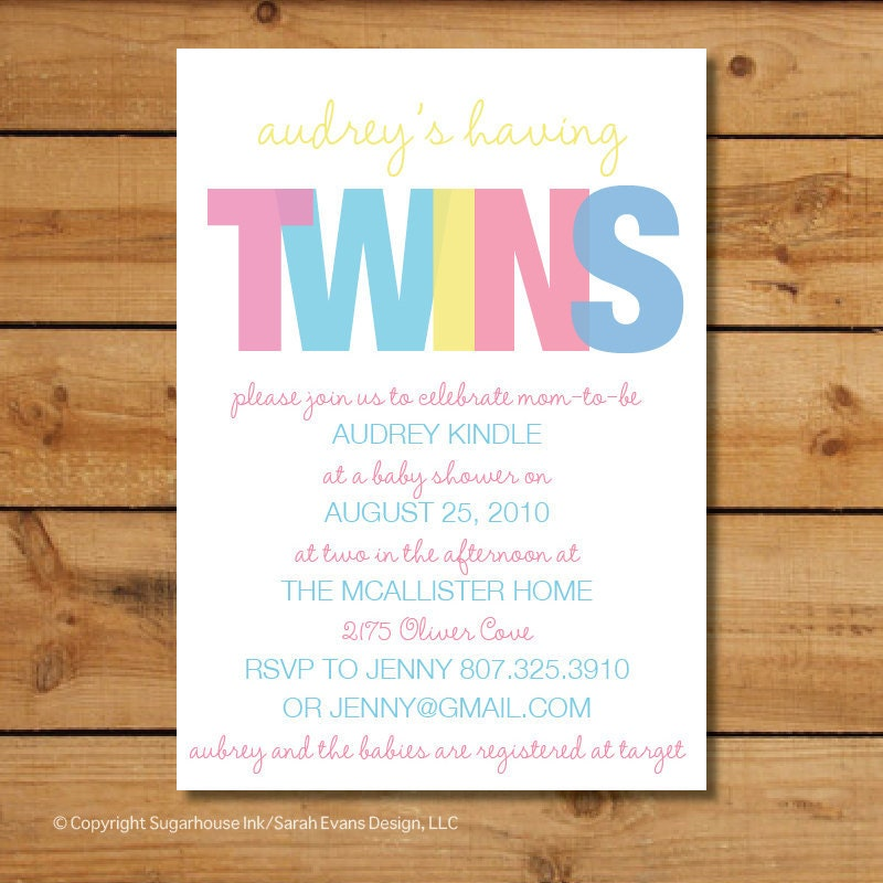 Baby Shower Twin Invitations with luxury invitations template