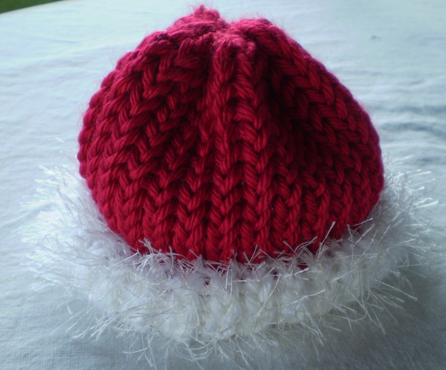 Loom Knit Baby Hat With Brim : Items similar to adorable santa baby beanie hat loom