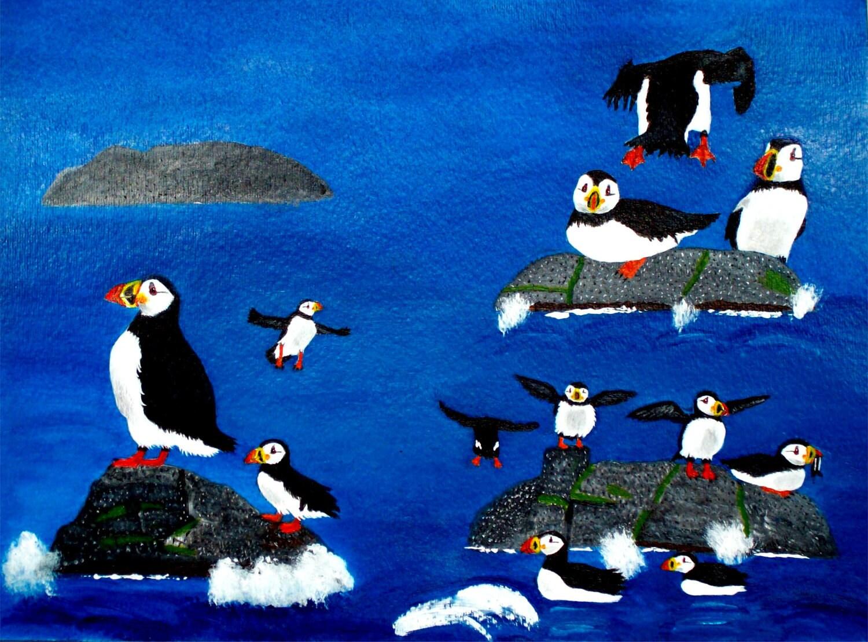 1 yard Maine coast Puffin quilt cotton fabric - joyfully3