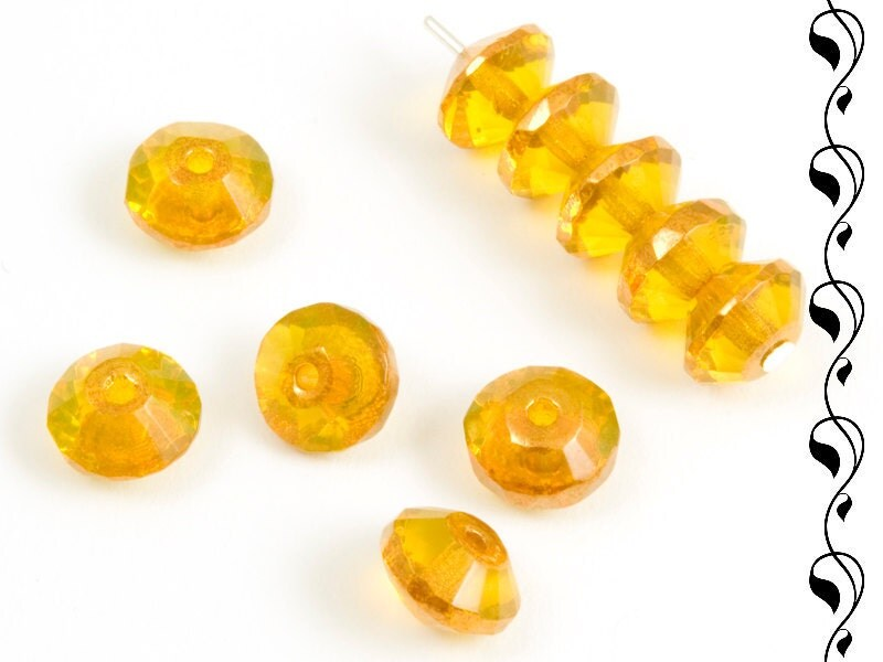 20 Rivoli 4x7 mm bright yellow - CzechBeadsStore