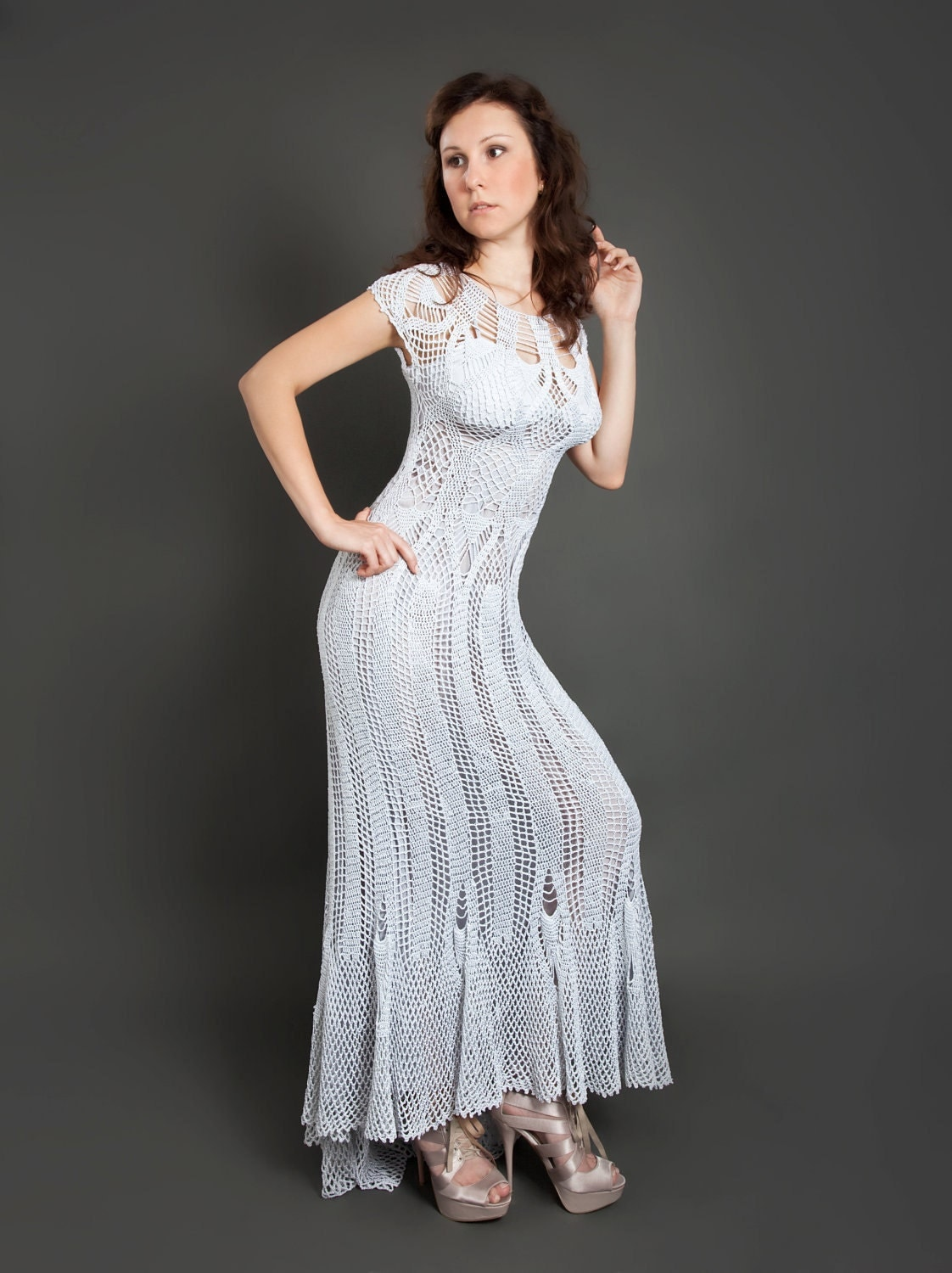 Grey metallized exclusive long crochet dress hand crocheted dress made to order