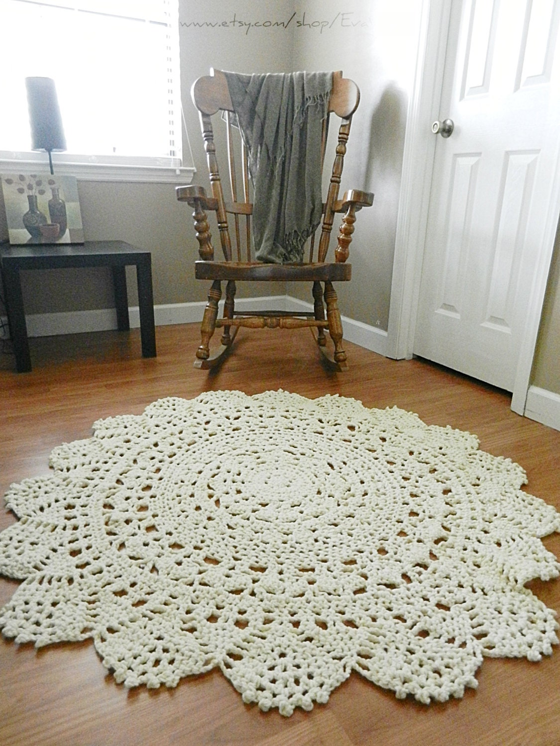 Giant crochet doily rug floor light beige ecru nude by for Tappeti country chic