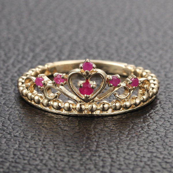 red crown rubies and diamonds engagement ring wedding band real 14k