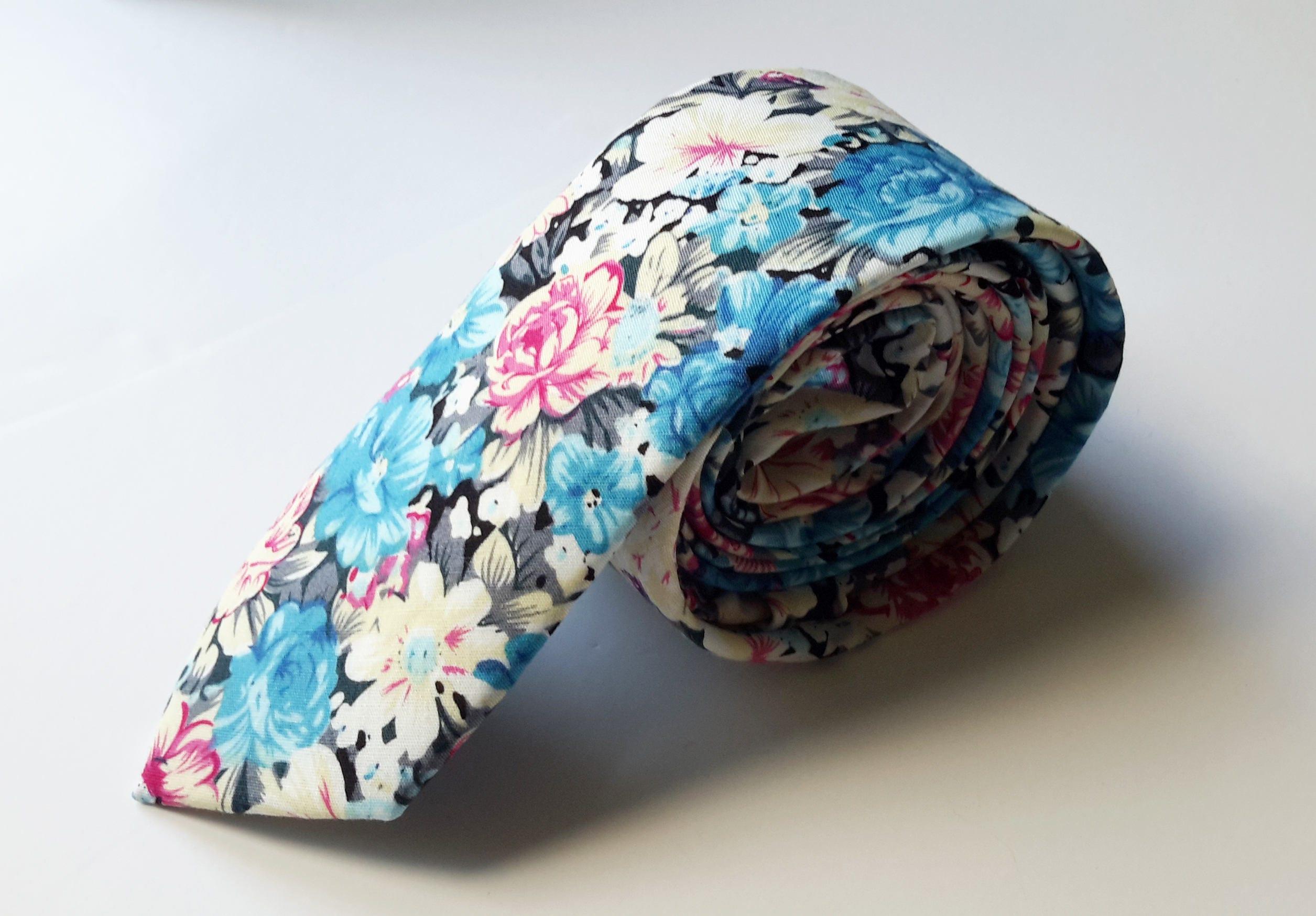 Blue Pink Cream Floral Neck Tie Mens Neck Tie Mens Floral Tie