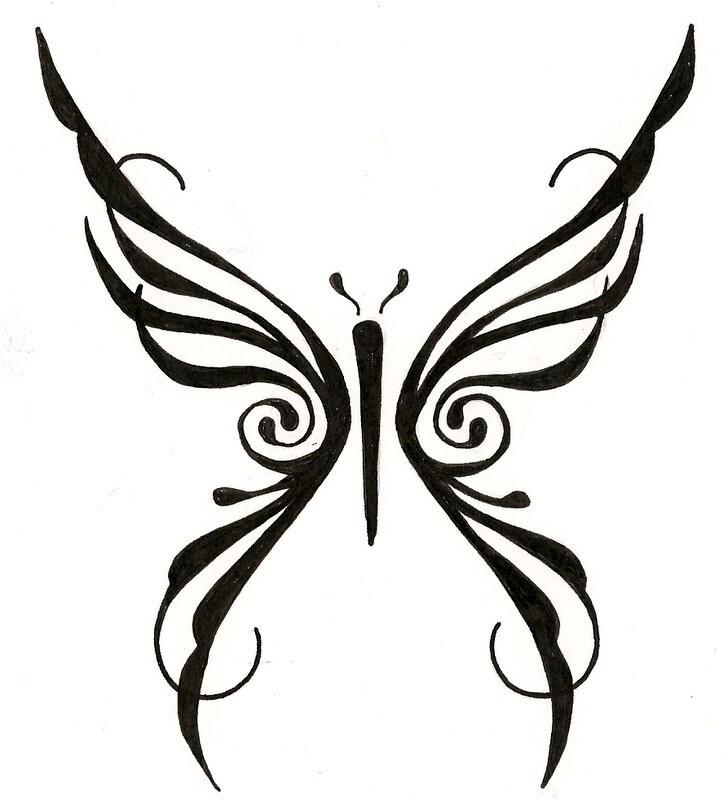 Tribal Tattoo Line Drawing : Items similar to tribal butterfly custom tattoo drawing on