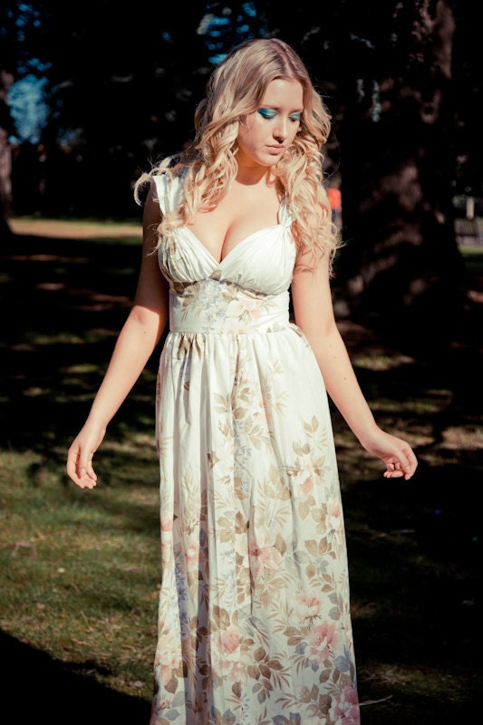 Sale Romantic floral grecian Maxi Dress beach wedding dress UK Ethical