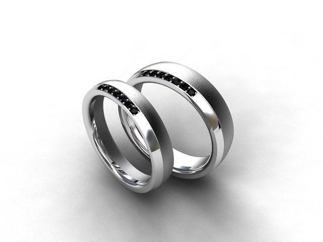 men wedding band wedding ring titanium ring set black wedding