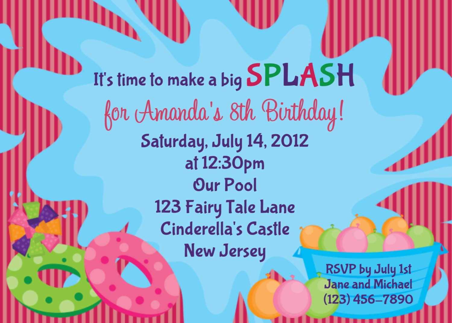 Pool party birthday party invitations printable or digital - Water Toys Invitation Personalized Custom By