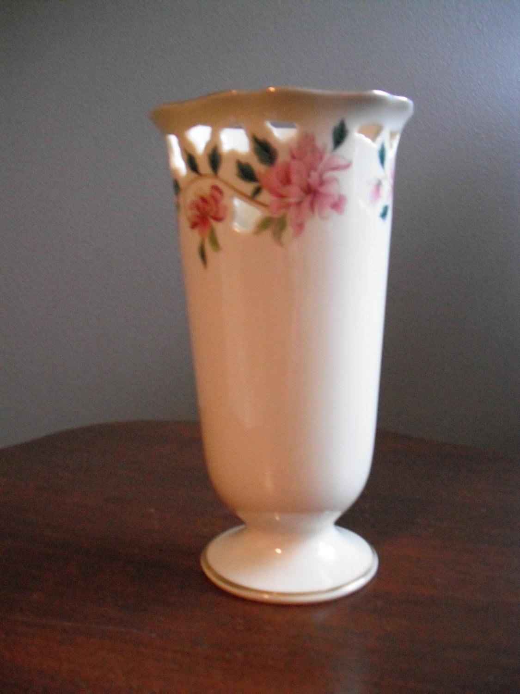 Items Similar To Retired Lenox Vase 24k Gold Trim Pink