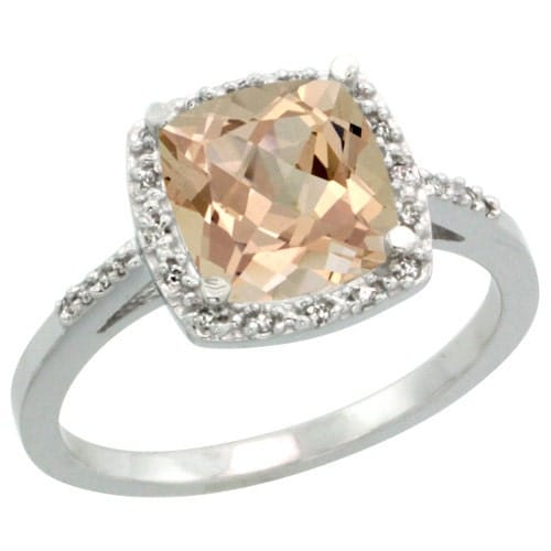 14k white gold halo morganite engagement ring by