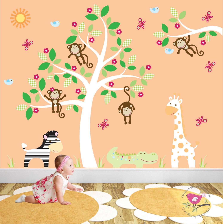Safari Nursery Decal jungle animals swinging monkeys white tree mural baby wall stickers toddler gift zoo wallpaper gender neutral