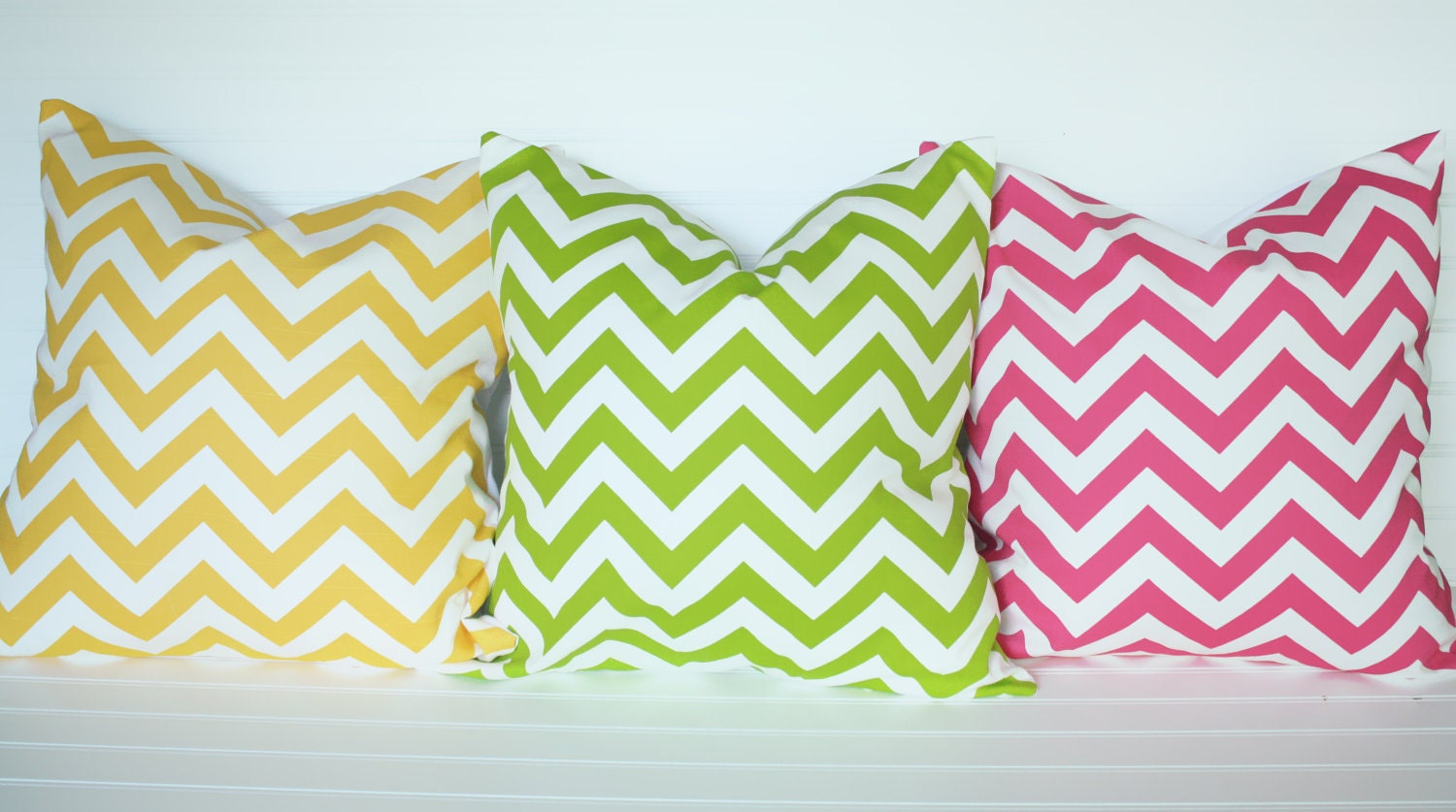 18x18 Large Yellow Chevron Pillow Cover