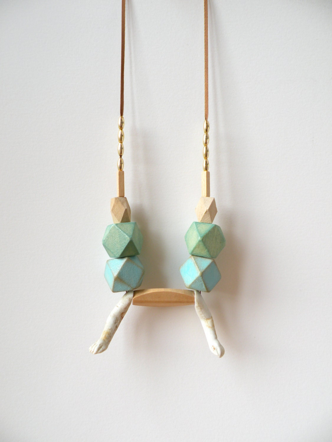 Mint & Blue Wood Hedron Bead Geometric Necklace / Gold beads / Antique porcelain doll arms / Statement necklace - jujujust