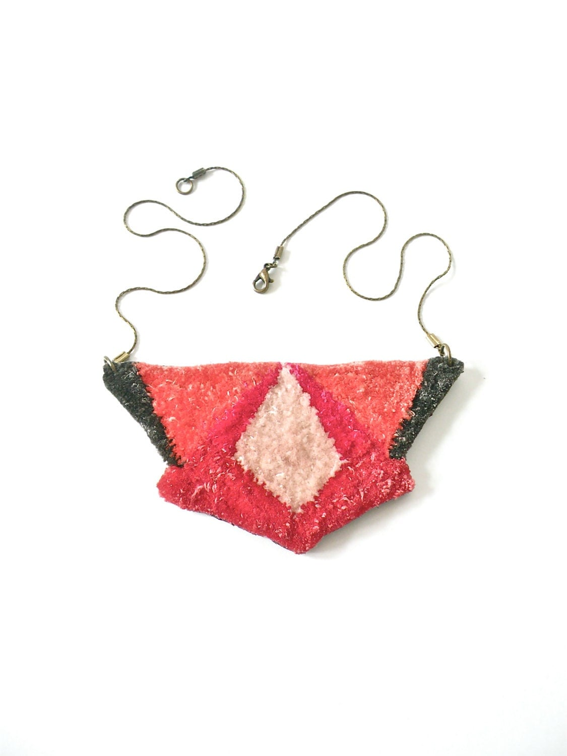 Hand embroidered Velvet Geometric Polygon Necklace / Salmon, Burgundy, Fuchsia, Brush PInk & Grey / Embroidered Pendant Statement Necklace - jujujust
