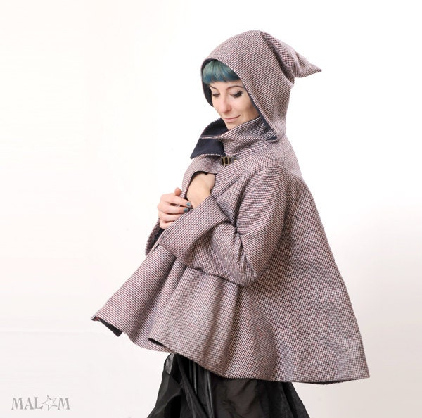 Wool Hooded Cape - Small Checks cape coat with goblin hood and flared sleeves - sz S-M CYBER MONDAY - Malam