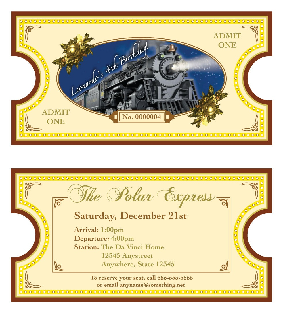 Polar Express Theme Invitation - DI Y Printable 2-Sided Ticket - By ...