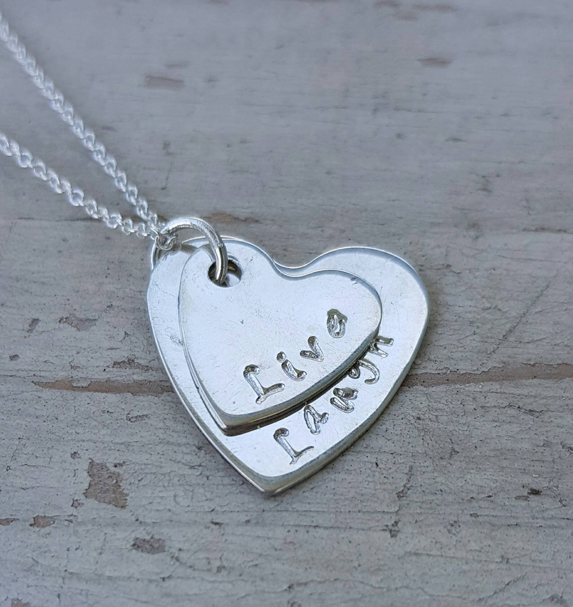 Personalised double heart hand stamped name necklace gift for mum silver heart my name wedding jewellery