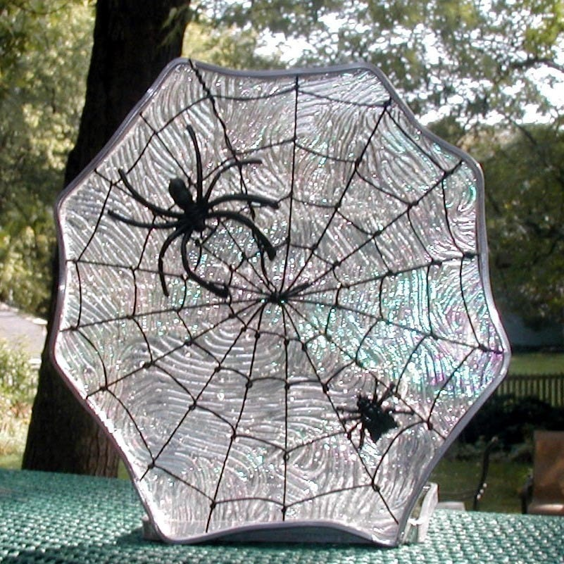 Halloween Stained Glass Candle Spiderweb Stained Glass by GlassCat