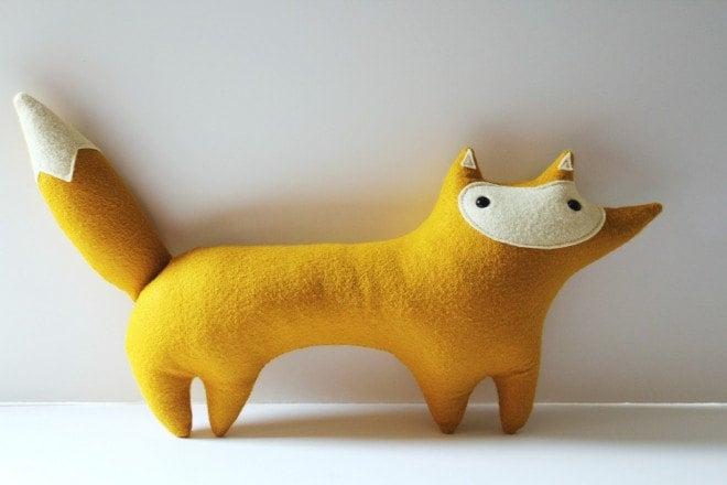 handmade plush mustard fox, Stewart Sunshine