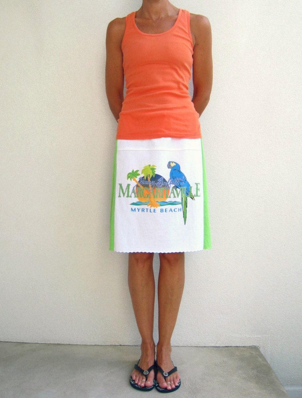 Jimmy Buffett T Shirt Skirt / White Green Periwinkle Blue / Margaritaville / Drawstring / Cotton / Soft / Fun / Beach / Vacation / ohzie - ohzie