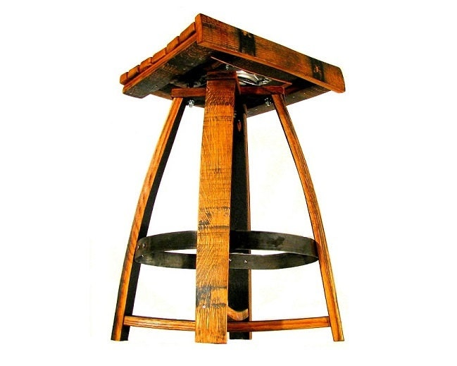 Whiskey Barrel Bar Stool With Memory Swivel By