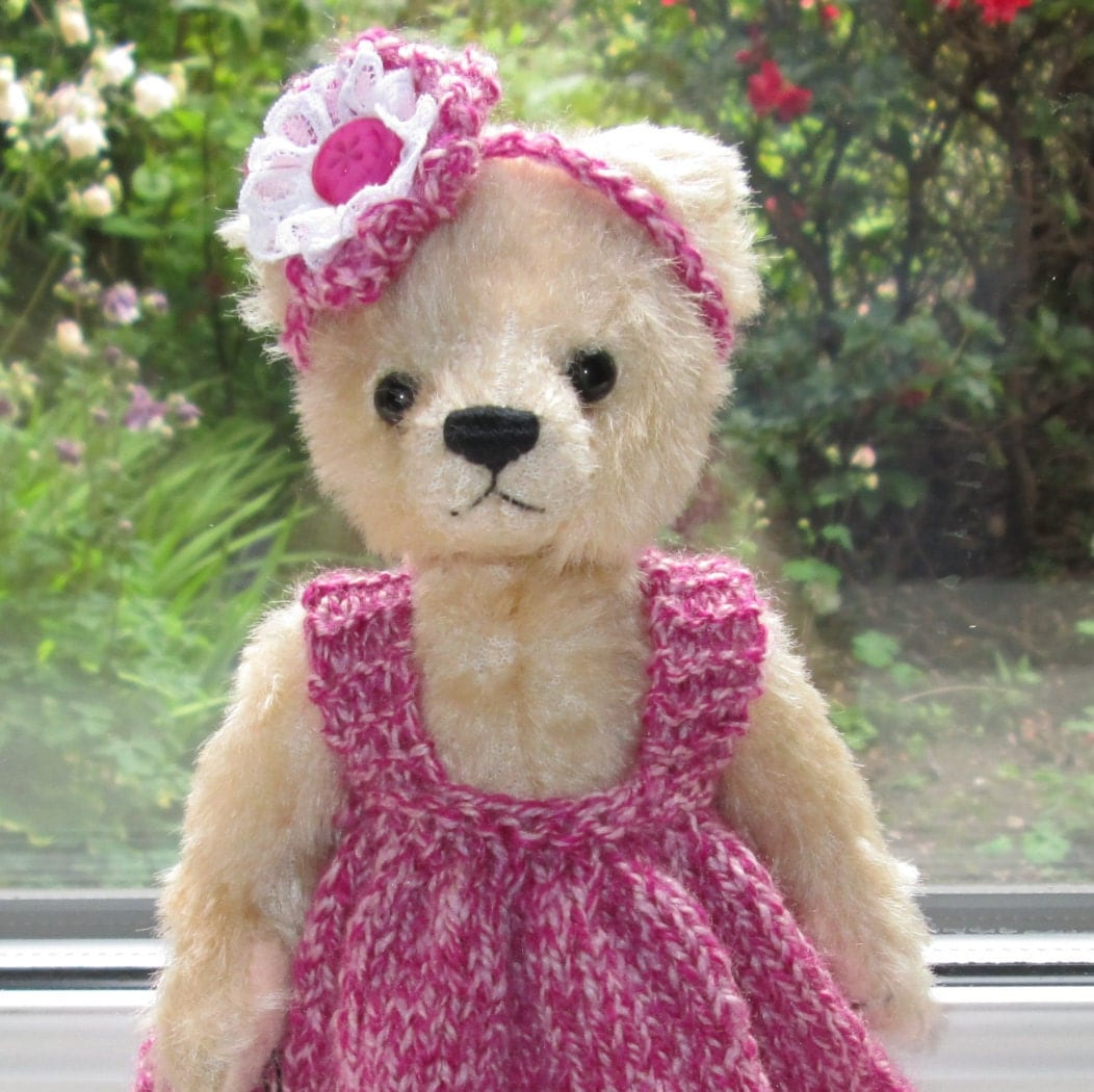 Teddy Bear ClothesHand Knitted 2 Piece Outfit Lace Dress And Flower Headband To Fit An 8 Inch Bear Ready To ShipPost